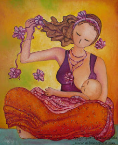 Motherhood painting Beautiful Sitting Mama Breastfeeding Gioia Albano art
